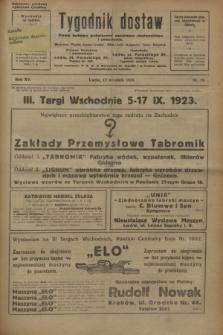 Tygodnik dostaw : pismo fachowe poświęcone polskiemu dostawnictwu i odbudowie. R.15, nr 34 (12 września 1923)