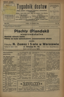 Tygodnik dostaw : pismo fachowe poświęcone polskiemu dostawnictwu i odbudowie. R.15, nr 35 (18 września 1923)