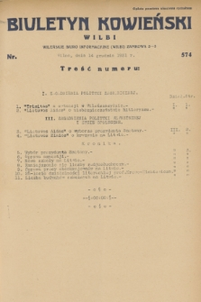 Biuletyn Kowieński Wilbi. 1931, nr 574 (14 grudnia)