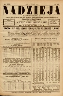 Nadzieja : dwutygodnik zwykazem bieżących ciągnień losów, listów zastawnych, obligacyj indemnizacyjnych innych papierów wartościowych : wiadomości bankowe, kolejowe, ekonomiczne. 1901, nr368