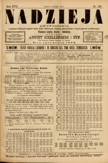 Nadzieja : dwutygodnik zwykazem bieżących ciągnień losów, listów zastawnych, obligacyj indemnizacyjnych innych papierów wartościowych : wiadomości bankowe, kolejowe, ekonomiczne. 1901, nr369