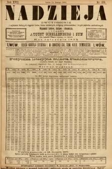 Nadzieja : dwutygodnik zwykazem bieżących ciągnień losów, listów zastawnych, obligacyj indemnizacyjnych innych papierów wartościowych : wiadomości bankowe, kolejowe, ekonomiczne. 1901, nr370