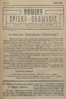 Nowiny Spisko-Orawskie : wydawnictwo Związku Polaków Spiskich i Orawskich. 1919, nr1