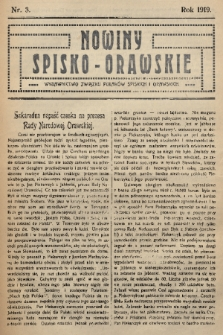 Nowiny Spisko-Orawskie : wydawnictwo Związku Polaków Spiskich i Orawskich. 1919, nr3