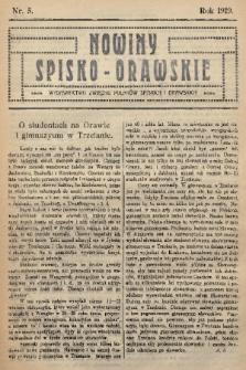 Nowiny Spisko-Orawskie : wydawnictwo Związku Polaków Spiskich i Orawskich. 1919, nr5