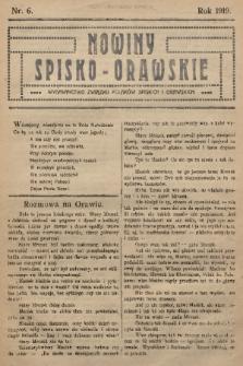 Nowiny Spisko-Orawskie : wydawnictwo Związku Polaków Spiskich i Orawskich. 1919, nr6
