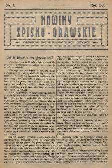 Nowiny Spisko-Orawskie : wydawnictwo Związku Polaków Spiskich i Orawskich. 1920, nr1