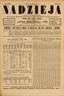 Nadzieja : dwutygodnik zwykazem bieżących ciągnień losów, listów zastawnych, obligacyj indemnizacyjnych innych papierów wartościowych : wiadomości bankowe, kolejowe, ekonomiczne. 1901, nr377