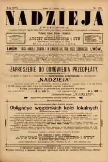 Nadzieja : dwutygodnik zwykazem bieżących ciągnień losów, listów zastawnych, obligacyj indemnizacyjnych innych papierów wartościowych : wiadomości bankowe, kolejowe, ekonomiczne. 1901, nr378