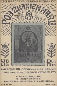 Pod Znakiem Marji : miesięcznik Sodalicyj Marjańskich uczniów szkół średnich w Polsce. R. 16, 1936, nr5