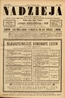 Nadzieja : dwutygodnik zwykazem bieżących ciągnień losów, listów zastawnych, obligacyj indemnizacyjnych innych papierów wartościowych : wiadomości bankowe, kolejowe, ekonomiczne. 1901, nr383