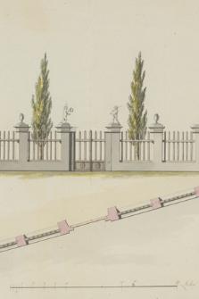 [Projekt ogrodzenia z bramą dekorowaną rzeźbami dwóch puttów oraz dwóch wazonów]