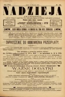 Nadzieja : dwutygodnik zwykazem bieżących ciągnień losów, listów zastawnych, obligacyj indemnizacyjnych innych papierów wartościowych : wiadomości bankowe, kolejowe, ekonomiczne. 1901, nr384
