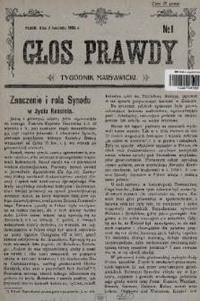 Głos Prawdy : tygodnik maryawicki. 1935, nr1