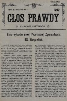 Głos Prawdy : tygodnik maryawicki. 1935, nr12