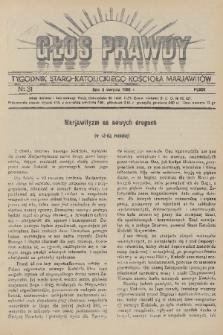 Głos Prawdy : tygodnik Staro-Katolickiego Kościoła Marjawitów. 1936, nr31