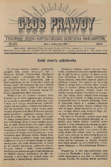 Głos Prawdy : tygodnik Staro-Katolickiego Kościoła Marjawitów. 1936, nr40
