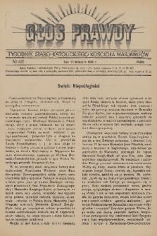 Głos Prawdy : tygodnik Staro-Katolickiego Kościoła Marjawitów. 1936, nr46