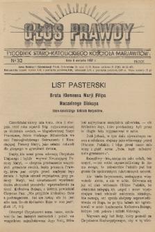 Głos Prawdy : tygodnik Staro-Katolickiego Kościoła Marjawitów. 1937, nr32