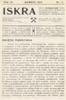 Iskra : miesięcznik poświęcony sprawom wstrzemięźliwości i wychowania narodowego. R. 4, 1913, nr3