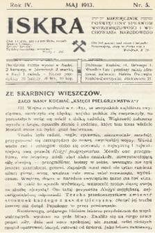 Iskra : miesięcznik poświęcony sprawom wstrzemięźliwości i wychowania narodowego. R. 4, 1913, nr5