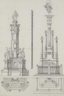 [Dwa projekty rzeźb Matki Boskiej w typie Immaculata na wysokich dekorowanych postumentach wraz z rzutami]