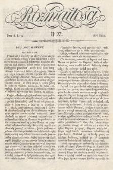Rozmaitości : pismo dodatkowe do Gazety Lwowskiej. 1836, nr27
