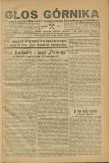 Głos Górnika : organ Związku Górników Zjednoczenia Zawodowego Polskiego : pismo miesięczne poświęcone obronie interesów polskich górników i ich pokrewnych zawodów. R.25, nr 3 (25 marca 1928)