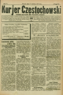 Kurjer Częstochowski : dziennik polityczno-społeczno literacki. R.4, № 143 (27 czerwca 1922)