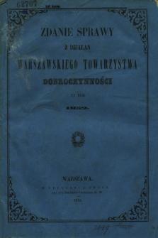 Zdanie Sprawy z Działań Warszawskiego Towarzystwa Dobroczynności za Rok 1852