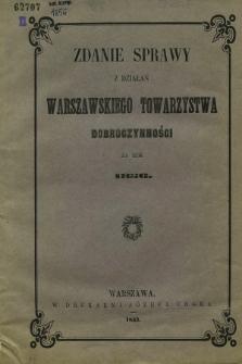 Zdanie Sprawy z Działań Warszawskiego Towarzystwa Dobroczynności za Rok 1856