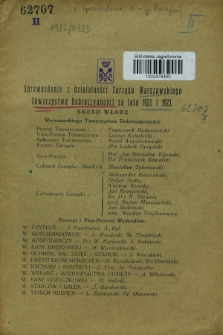 Sprawozdanie z Działalności Zarządu Warszawskiego Towarzystwa Dobroczynności za lata 1922 i 1923