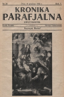 Kronika Parafjalna : dwutygodnik. 1932, nr20