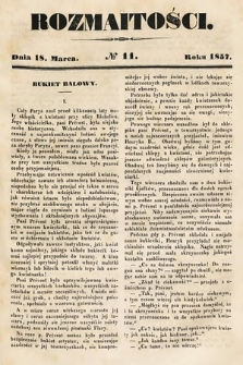 Rozmaitości : pismo dodatkowe do Gazety Lwowskiej. 1857, nr11