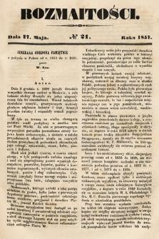 Rozmaitości : pismo dodatkowe do Gazety Lwowskiej. 1857, nr21