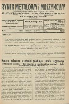 Rynek Metalowy i Maszynowy : najobszerniejsze czasopismo fachowe w Polsce. R.7, nr 6 (10 lutego 1927) + dod.