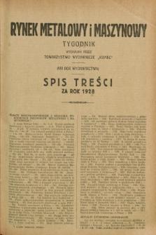 Rynek Metalowy i Maszynowy. R.8, Spis treści za rok 1928