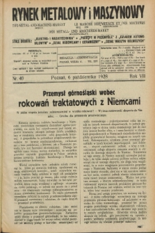 Rynek Metalowy i Maszynowy. R.8, nr 40 (6 października 1928) + dod.