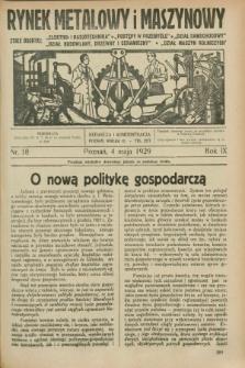 Rynek Metalowy i Maszynowy. R.9, nr 18 (4 maja 1929) + dod.