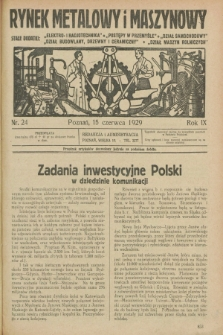 Rynek Metalowy i Maszynowy. R.9, nr 24 (15 czerwca 1929) + dod.