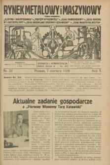 Rynek Metalowy i Maszynowy. R.10, nr 23 (7 czerwca 1930) + dod.