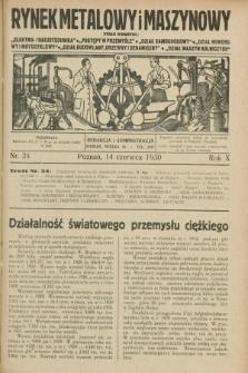 Rynek Metalowy i Maszynowy. R.10, nr 24 (14 czerwca 1930) + dod.
