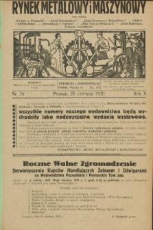 Rynek Metalowy i Maszynowy. R.10, nr 26 (28 czerwca 1930) + dod.