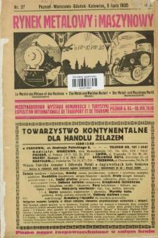 Rynek Metalowy i Maszynowy. R.10, nr 27 (5 lipca 1930) + dod.