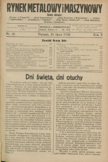 Rynek Metalowy i Maszynowy. R.10, nr 30 (26 lipca 1930) + dod.