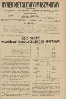 Rynek Metalowy i Maszynowy. R.10, nr 46 (15 listopada 1930) + dod.