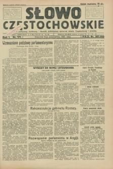Słowo Częstochowskie : dziennik polityczny, społeczny i literacki, poświęcony sprawom miasta Częstochowy i powiatu. R.1, nr 171 (8 października 1931)