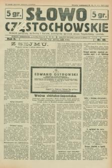 Słowo Częstochowskie : dziennik polityczny, społeczny i literacki, poświęcony sprawom miasta Częstochowy i powiatu. R.2, nr 49 (1 marca 1932)