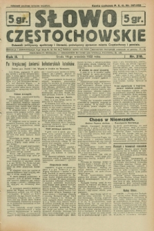 Słowo Częstochowskie : dziennik polityczny, społeczny i literacki, poświęcony sprawom miasta Częstochowy i powiatu. R.2, nr 210 (14 września 1932)
