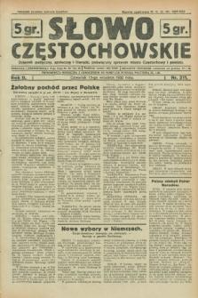 Słowo Częstochowskie : dziennik polityczny, społeczny i literacki, poświęcony sprawom miasta Częstochowy i powiatu. R.2, nr 211 (15 września 1932)